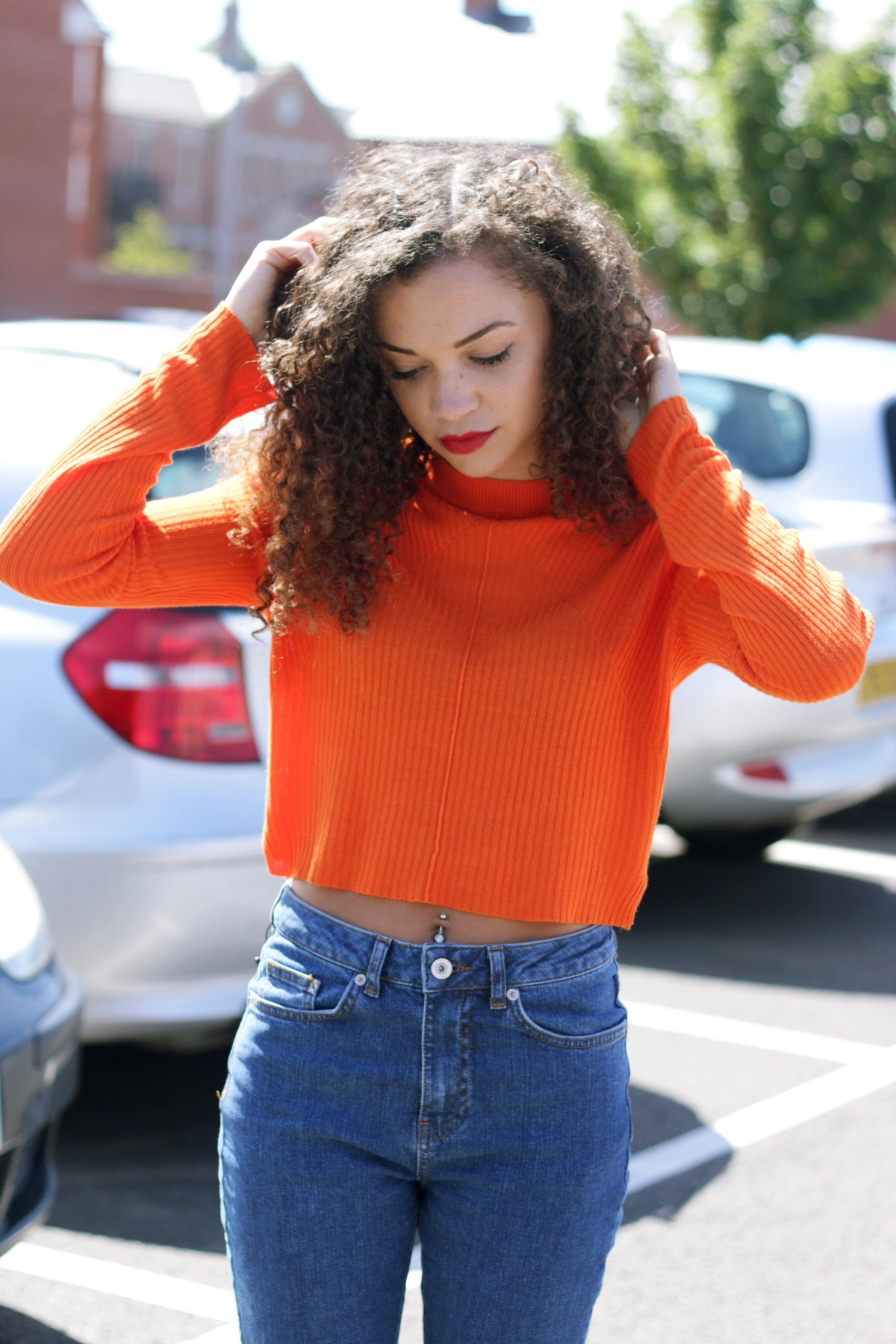 orange cropped jumper - missguided - charnellegeraldine - uk style blogger 2