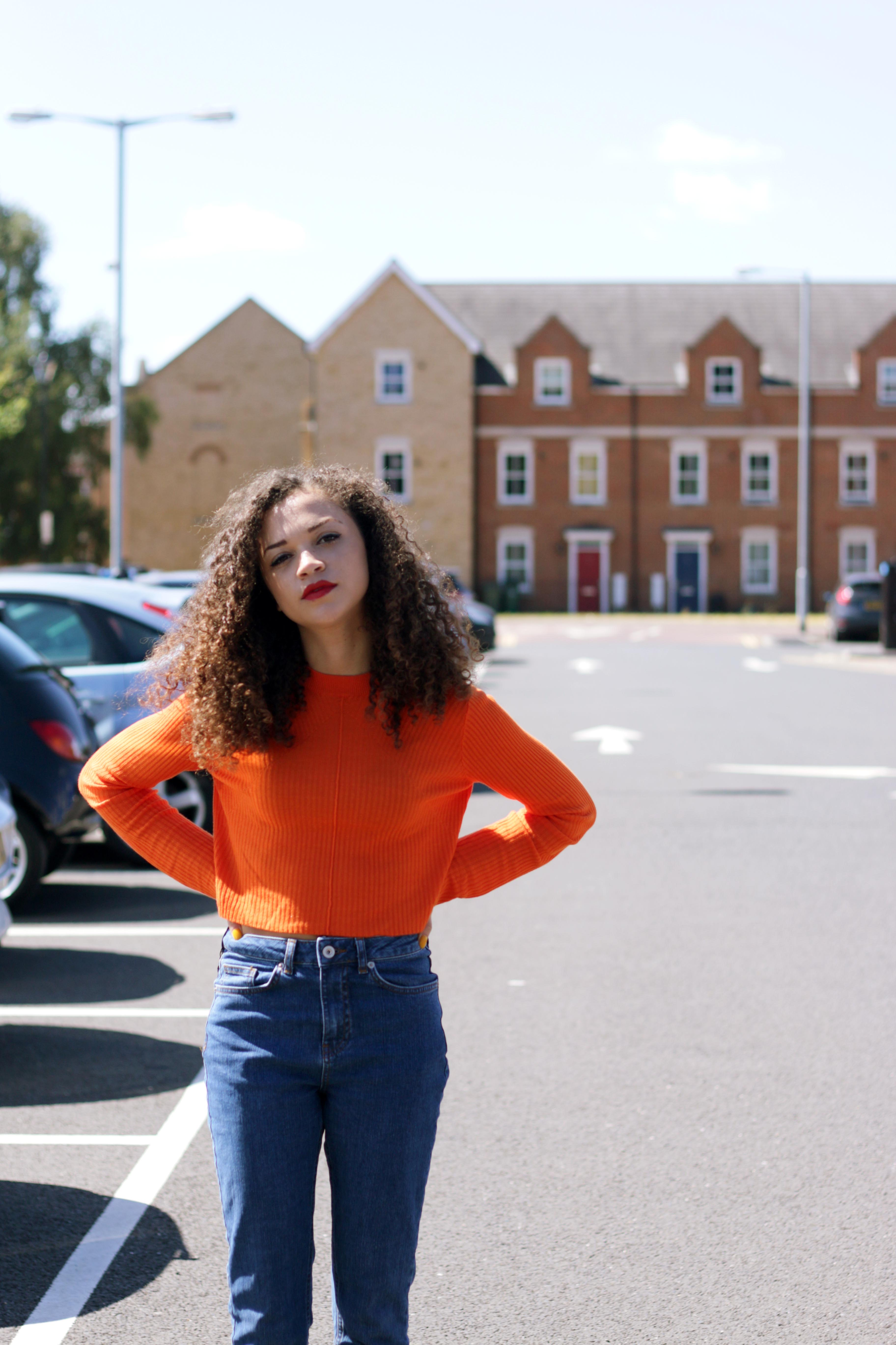 orange cropped jumper - missguided - charnellegeraldine - uk style blogger