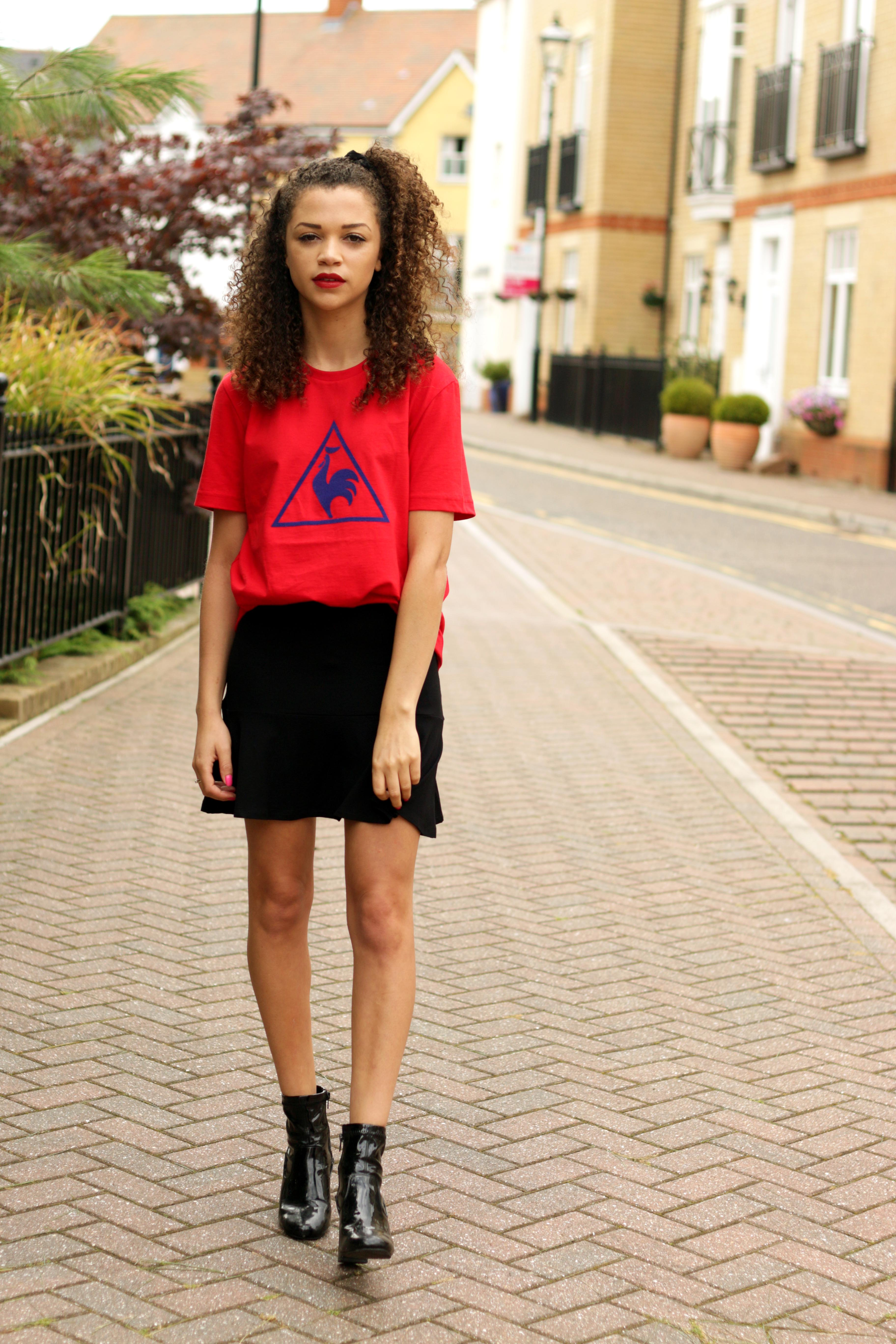 red le coq sportif tshirt - feminising the sports trend - style diary - charnelle geraldine