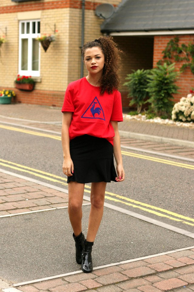 red le coq sportif tshirt - feminising the sports trend - style diary - uk style blogger - charnelle geraldine