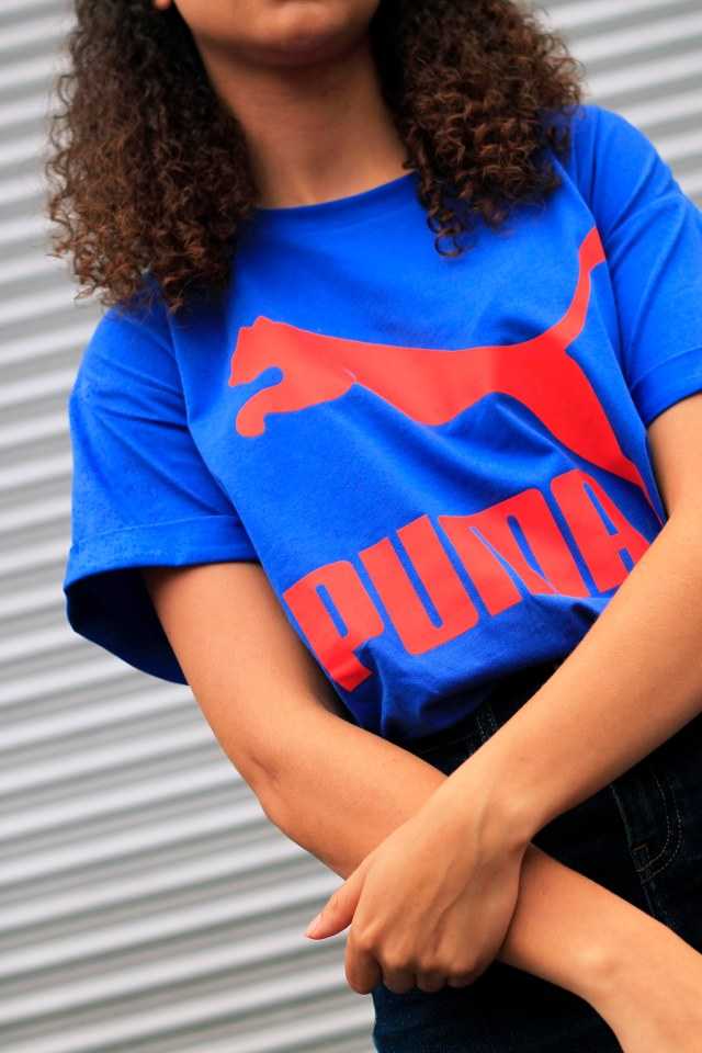 uk curly hair blogger - retro puma tshirt 2