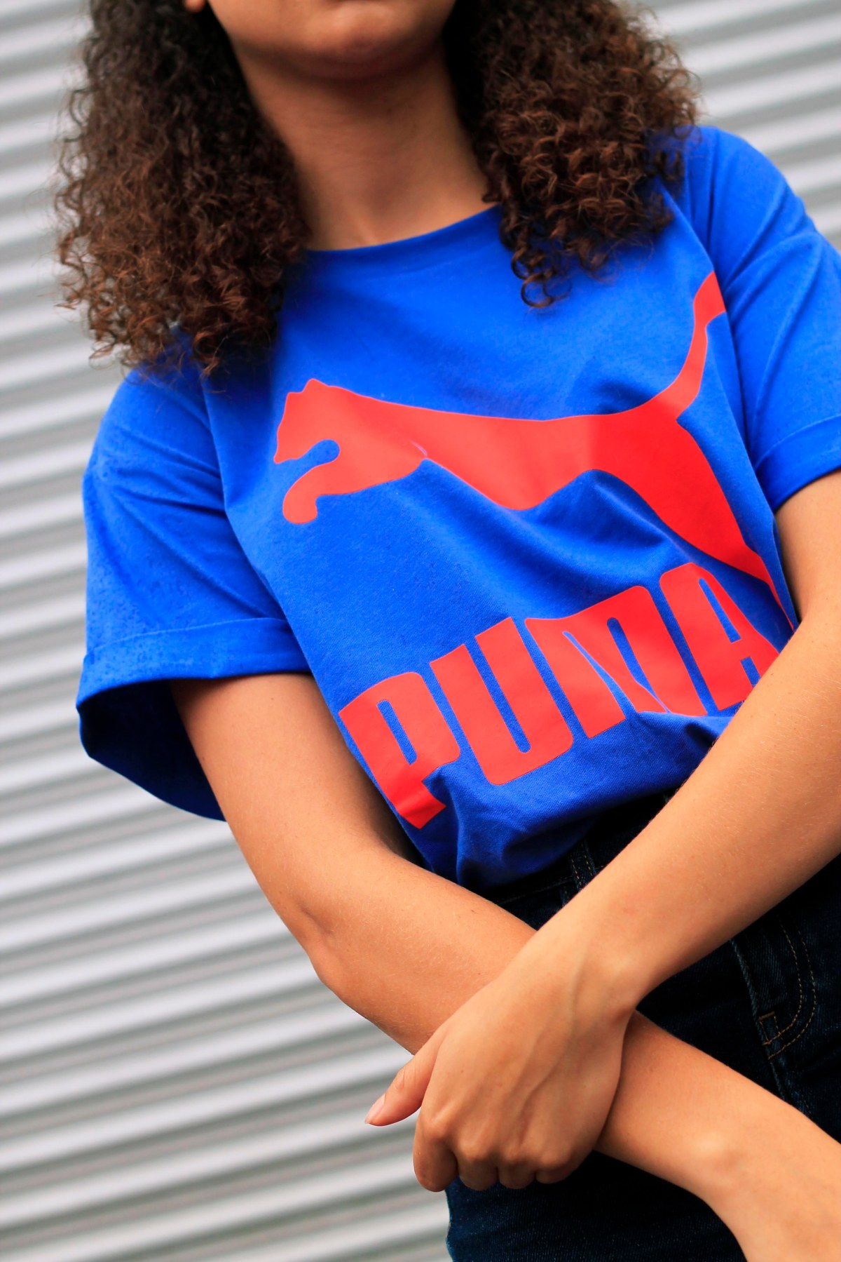 uk curly hair blogger - retro puma tshirt 2