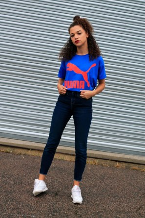 uk curly hair blogger - retro puma tshirt 3